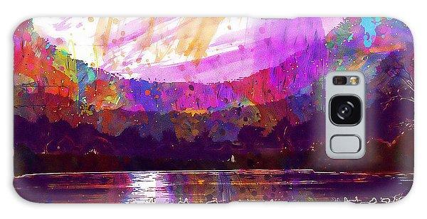 Galaxy Case featuring the digital art Landscape Winter Fog Sunrise Birds  by PixBreak Art