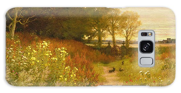 Rural Scenes Galaxy S8 Case - Landscape With Wild Flowers And Rabbits by Robert Collinson