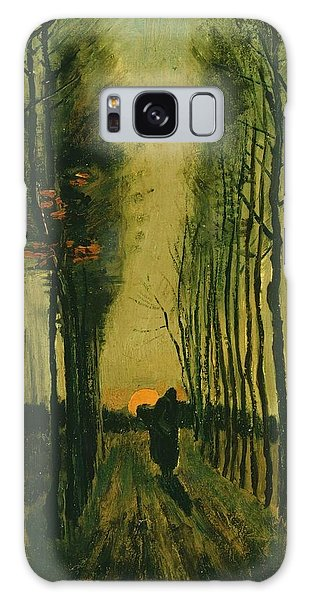 Galaxy Case featuring the painting Lane Of Poplars At Sunset by Van Gogh