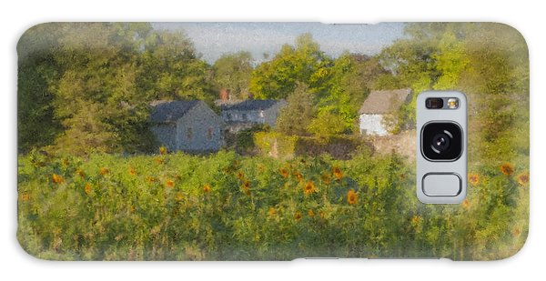 Langwater Farm Sunflowers And Barns Galaxy Case