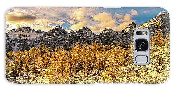 Moraine Lake Galaxy Case - Larch Valley Golden Larches Touch Of Winter by Mike Reid