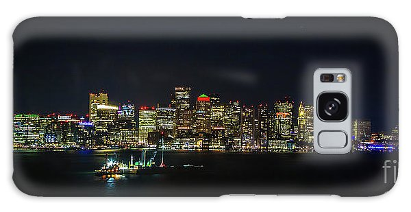Large Panoramic Of Downtown Boston At Night Galaxy Case