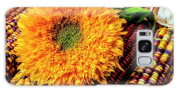 Indian Corn Galaxy Case - Large Sunflower On Indian Corn by Garry Gay