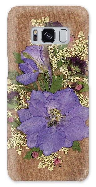 Larkspur And Queen-ann's-lace Pressed Flower Arrangement Galaxy Case