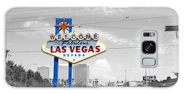 Las Vegas Welcome Sign Color Splash Black And White Galaxy Case by Shawn O'Brien
