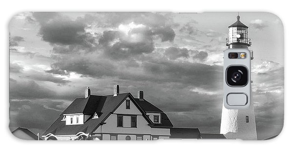 Late Afternoon Clouds, Portland Head Light  -98461-sq Galaxy Case by John Bald