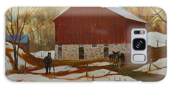 Galaxy Case featuring the painting Late Winter At The Farm by David Gilmore