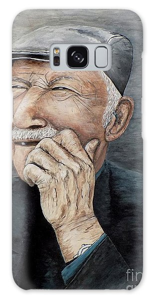 Laughing Old Man Galaxy Case by Judy Kirouac