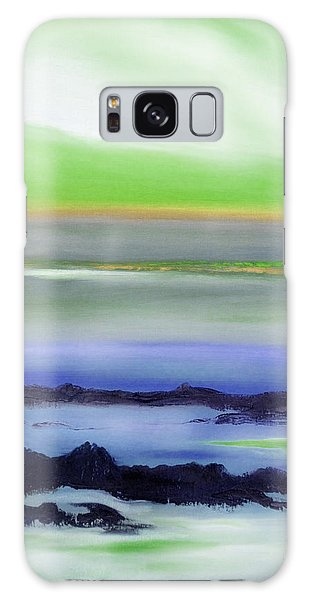 Lava Rock Abstract Sunset In Blue And Green Galaxy Case