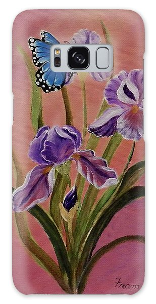 Lavender  Iris With Butterfly Galaxy Case