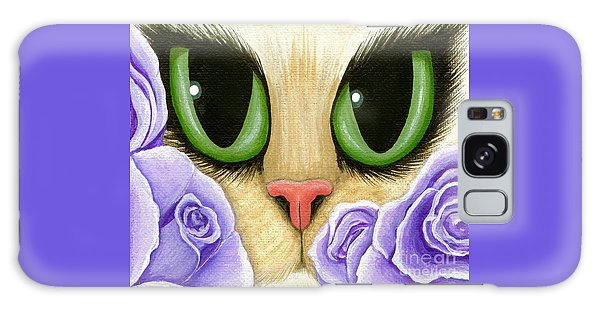 Lavender Roses Cat - Green Eyes Galaxy Case by Carrie Hawks