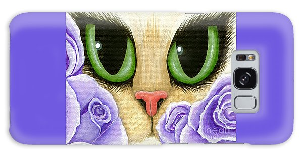 Lavender Roses Cat - Green Eyes Galaxy Case
