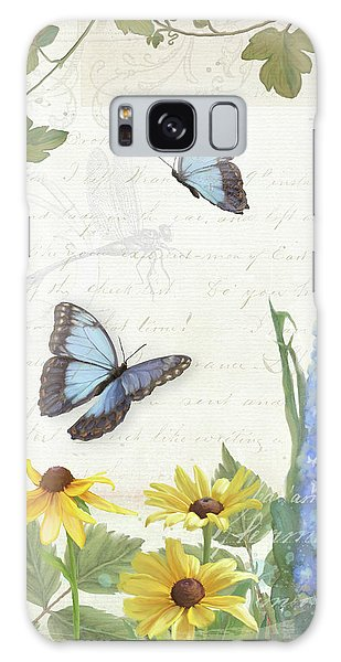 Galaxy Case featuring the painting Le Petit Jardin 1 - Garden Floral W Butterflies, Dragonflies, Daisies And Delphinium by Audrey Jeanne Roberts