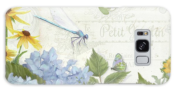 Le Petit Jardin 2 - Garden Floral W Dragonfly, Butterfly, Daisies And Blue Hydrangeas Galaxy Case by Audrey Jeanne Roberts