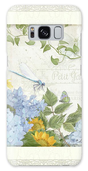 Le Petit Jardin 2 - Garden Floral W Dragonfly, Butterfly, Daisies And Blue Hydrangeas W Border Galaxy Case by Audrey Jeanne Roberts