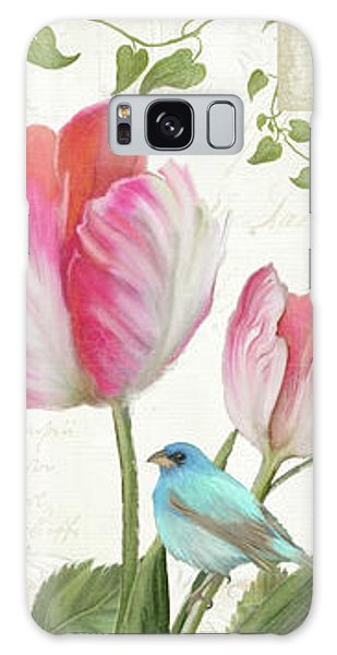 Le Petit Jardin - Collage Garden Floral W Butterflies, Dragonflies And Birds Galaxy Case by Audrey Jeanne Roberts