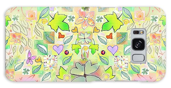 Leaf And Flower And Heart Pattern  Galaxy Case