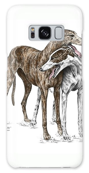 Lean On Me - Greyhound Dogs Print Color Tinted Galaxy Case by Kelli Swan