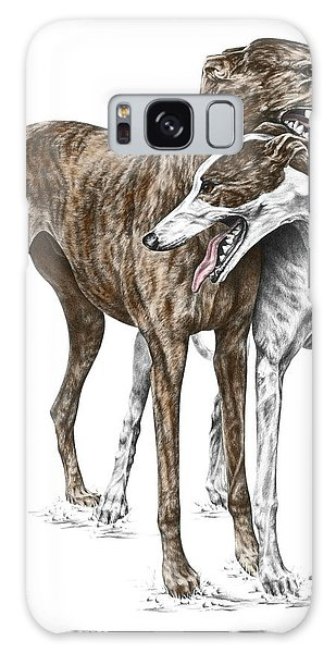 Lean On Me - Greyhound Dogs Print Color Tinted Galaxy Case