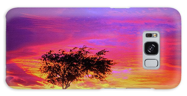 Leaning Tree At Sunset Galaxy Case
