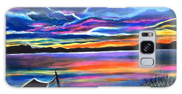 Left Alone A Seascape Boat Painting At Sunset  Galaxy Case