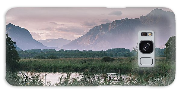 Leisure Boat On River Adda In Northern Italy, Close To Lake Como - Reflection Of Italian Alps Galaxy Case