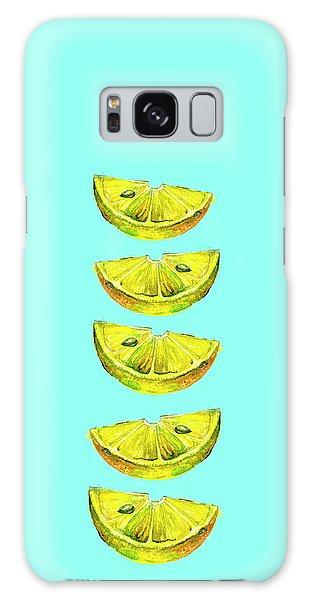 Lemon Slices Turquoise Galaxy Case