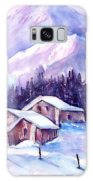 Swiss Mountain Cabins In Snow Galaxy Case