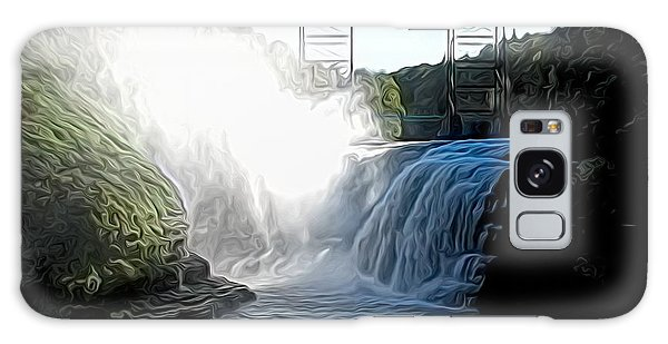 Galaxy Case featuring the photograph Letchworth State Park Upper Falls And Railroad Trestle Abstract by Rose Santuci-Sofranko