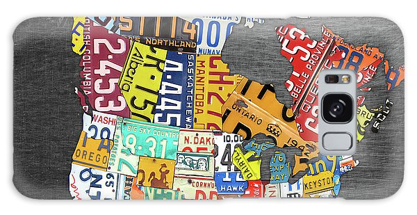 America Map Galaxy Case - License Plate Map Of North America Canada And The United States On Gray Metal by Design Turnpike