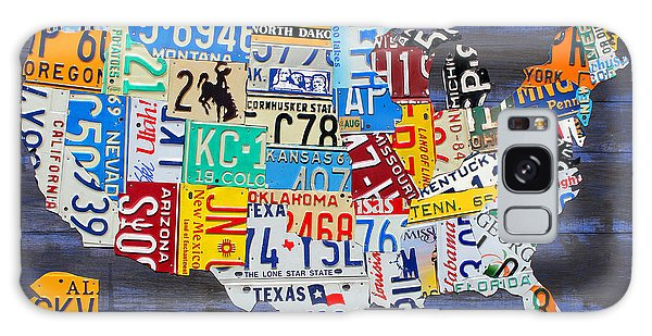 America Map Galaxy Case - License Plate Map Of The Usa On Blue Wood Boards by Design Turnpike