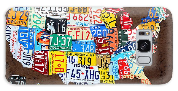 America Map Galaxy Case - License Plate Map Of The Usa On Brown Wood by Design Turnpike
