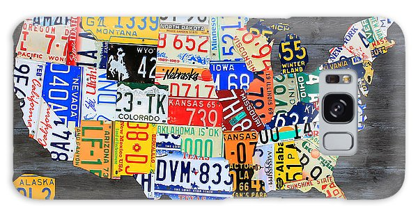Usa Galaxy Case - License Plate Map Of The Usa On Gray Distressed Wood Boards by Design Turnpike