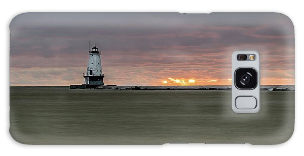 Lighthouse And Sunset Galaxy Case