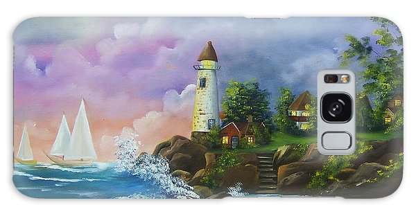 Lighthouse By The Village Galaxy Case