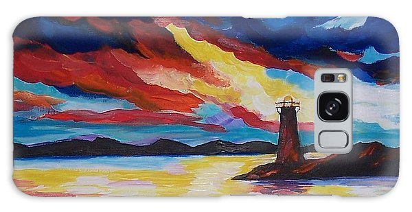 Lighthouse Storm Galaxy Case by Leslie Allen