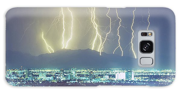 Galaxy Case featuring the photograph Lightning Over Phoenix Arizona Panorama by James BO Insogna