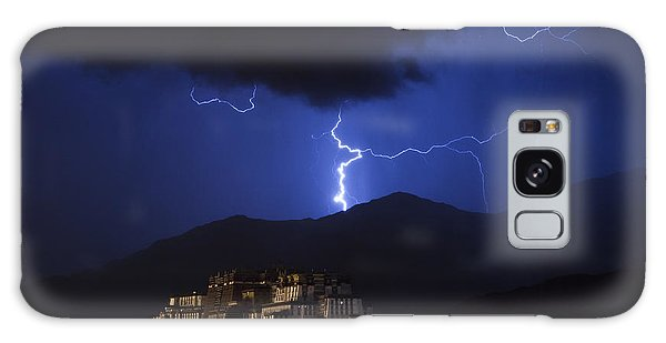 Galaxy Case featuring the photograph Lightning Over Potala Palace, Lhasa, 2007 by Hitendra SINKAR
