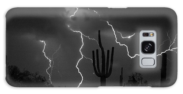 Lightning Storm Saguaro Fine Art Bw Photography Galaxy Case