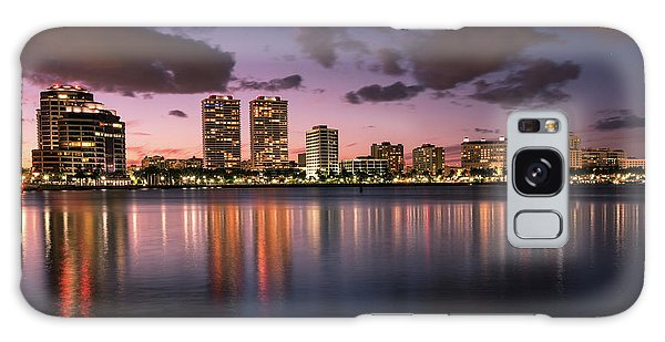 Flagler Galaxy Case - Lights At Night In West Palm Beach by Debra and Dave Vanderlaan
