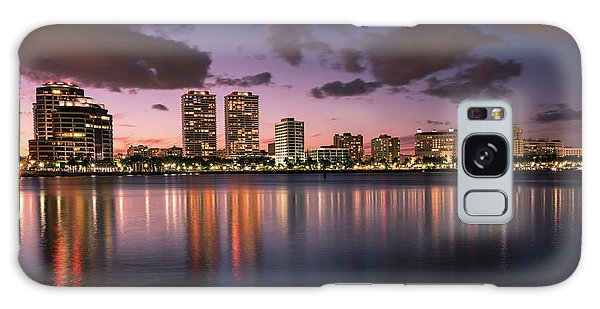 Flagler Galaxy Case - Lights At Night In West Palm Beach by Debra and Dave Vanderlaan