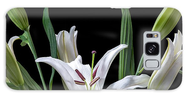 A White Oriental Lily Surrounded Galaxy Case