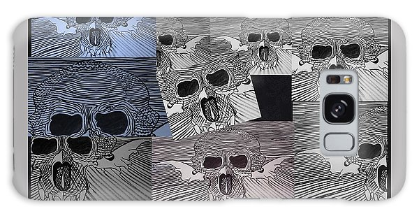 Galaxy Case - Line Skulls Collage by Joan Stratton