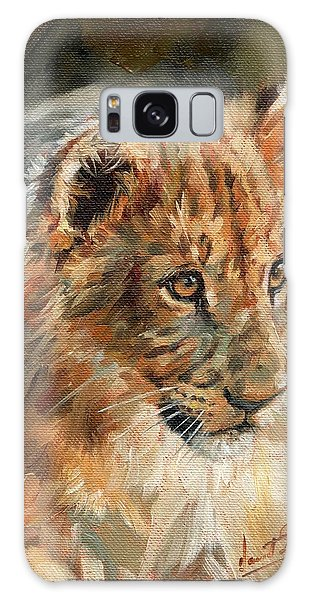 Lion Cub Portrait Galaxy Case by David Stribbling