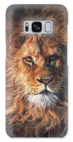 Lion Portrait Galaxy Case by David Stribbling