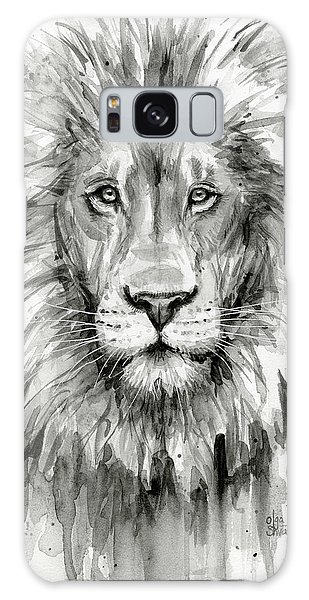 Lion Galaxy Case - Lion Watercolor  by Olga Shvartsur