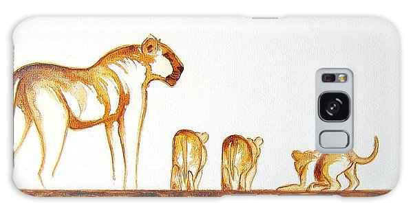 Lioness And Cubs Small - Original Artwork Galaxy Case