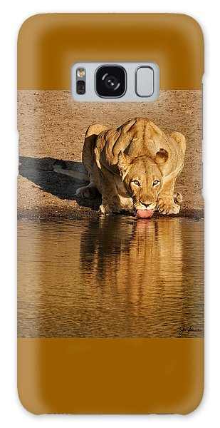 Lioness Drinking Galaxy Case by Joe Bonita