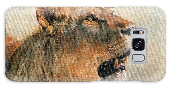 Lioness Portrait 2 Galaxy Case by David Stribbling