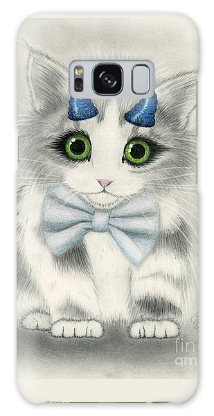 Galaxy Case featuring the drawing Little Blue Horns - Devil Kitten by Carrie Hawks